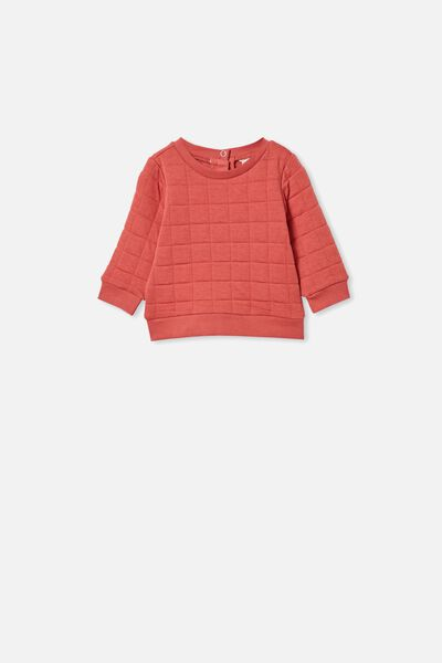 Scout Quilted Sweater, RED BRICK