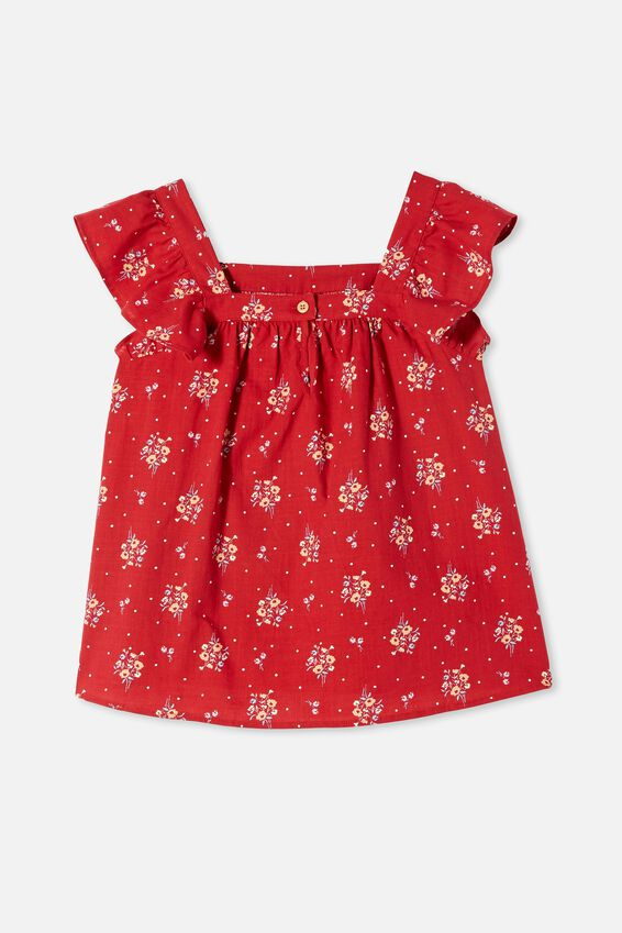 Perri Ruffle Sleeve Top, LUCKY RED/POSEY FLORAL