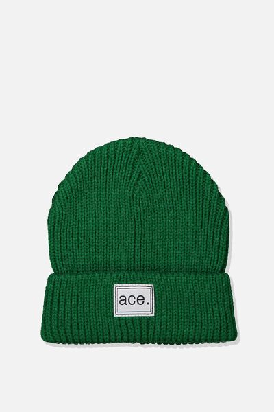 Winter Knit Beanie, BRIGHT GREEN/RIB