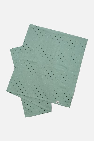 Organic Muslin Blanket, SMASHED AVO/PETROL TEAL BETTY SPOT