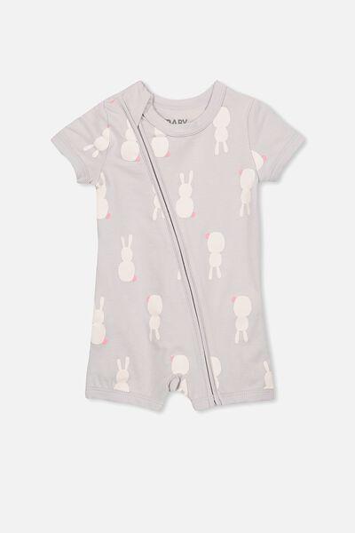 Mini Short Sleeve Zip Through All In One, WINDCHIME/BUNNIES