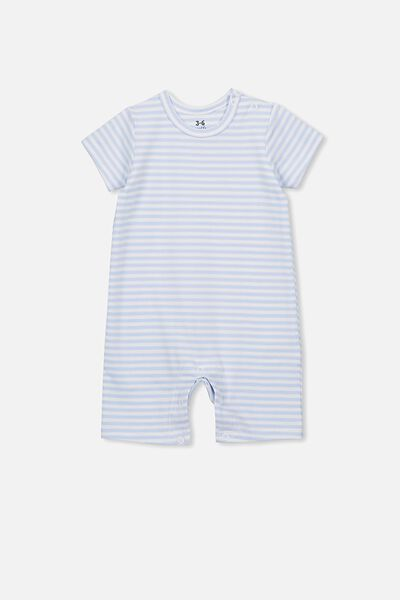 The Short Sleeve Romper, CHRIS STRIPE WHITE WATER BLUE/WHITE