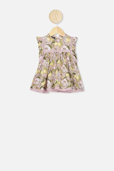 Tess Flutter Sleeve Dress, LCN MAY ZEPHYR BLOSSOM BABIES