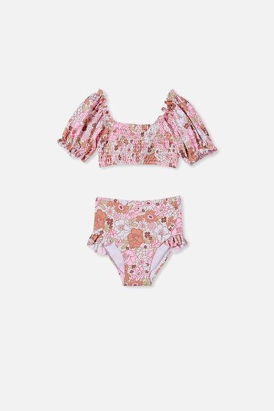 Primrose Puff Sleeve Bikini, VANILLA/PINK RETRO FLORAL