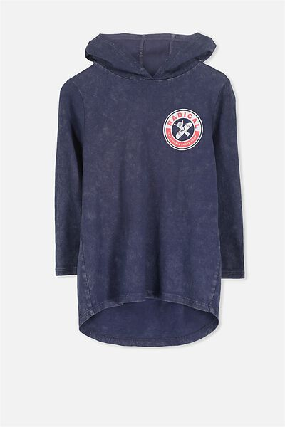 Aiden Hooded Long Sleeve Tee, WASHED NAVY DW/SKATE SHOP RADICAL