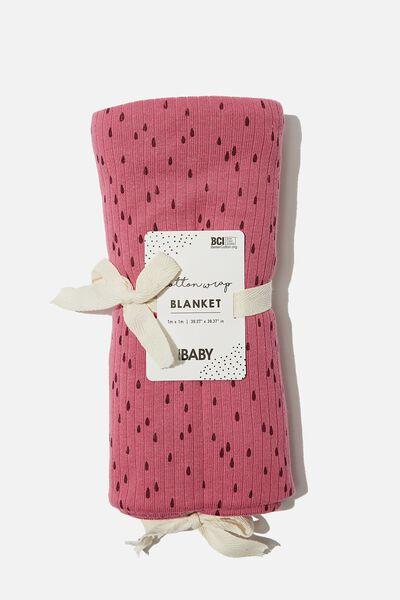 Newborn Blanket, MAUVE PLUM/RAIN DROPS