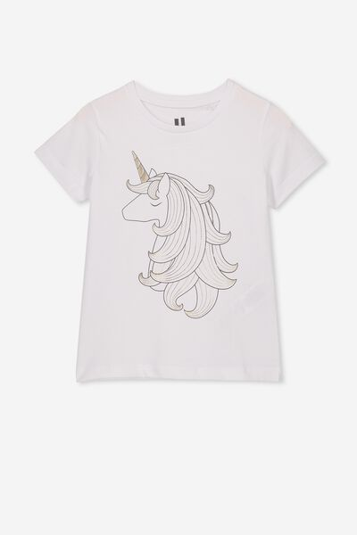 Penelope Short Sleeve Tee, WHITE/UNICORN HAIR/MAX