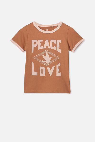 Penelope Short Sleeve Tee, AMBER BROWN/PEACE LOVE/RINGER