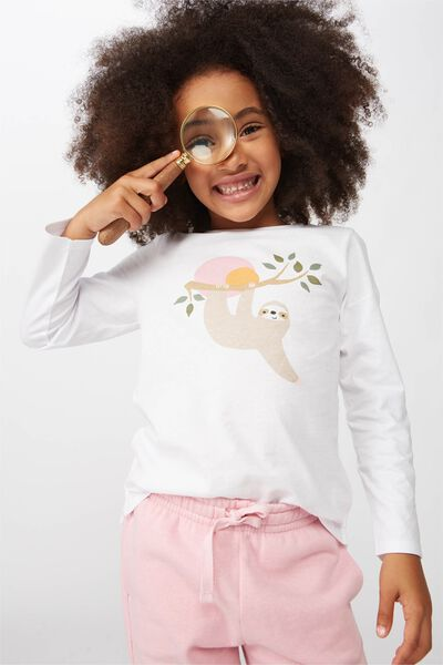Penelope Long Sleeve Tee, WHITE/SLOTH