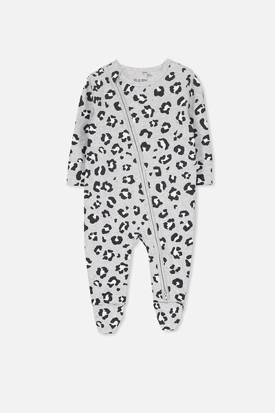 Mini Zip Through Romper, CLOUD MARLE/ANIMAL PRINT