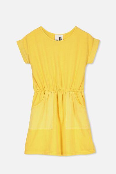 Sibella Short Sleeve Dress, SUNSET GOLD