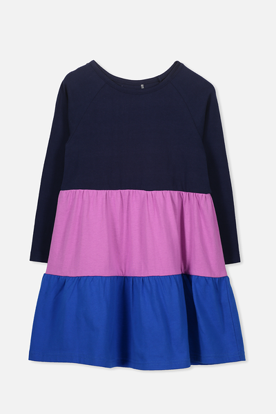 Maddie Long Sleeve Dress, PEACOAT/MAGENTA/PRINCESS BLUE