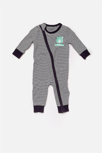 Mini Zip Footless Romper, INDIAN INK/VANILLA (PERSONALISATION)