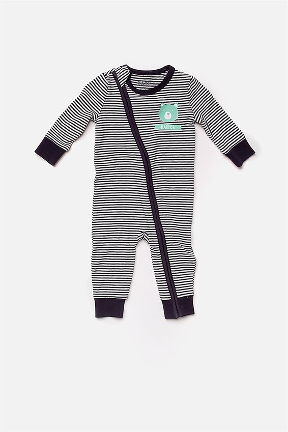 Personalised Baby Footless Romper, INDIAN INK/VANILLA (PERSONALISATION)