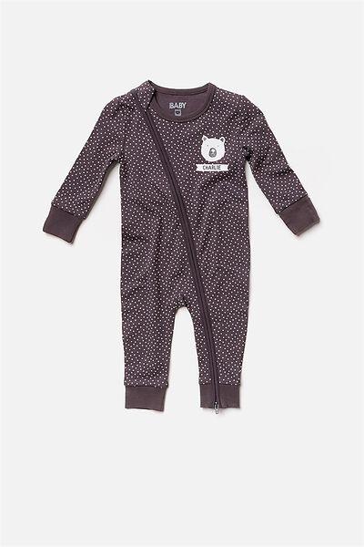 Personalised Baby Footless Romper, GRAPHITE GREY/VANILLA SPOT (PERSONALISATION)