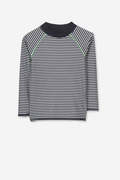 Fraser Long Sleeve Rash Vest, WHITE/NAVY STRIPE