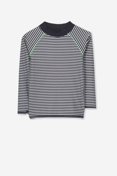 Fraser Long Sleeve Rash Vest, WHITE/NAVY STRIPE