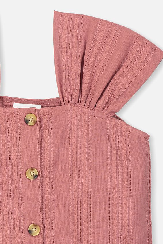 Paloma Ss Button Through Top, RUSTY ROSE/TEXTURED STRIPE