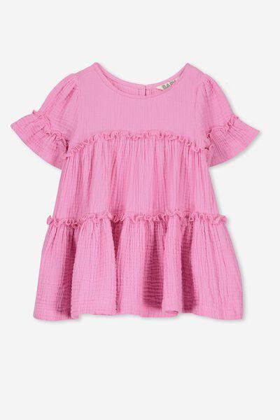 Abby Flutter Dress, FUCHSIA PINK
