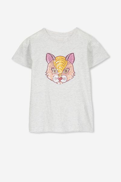 Stevie Ss Embellished Tee, SUMMER GREY MARLE/SEQUIN CAT FACE