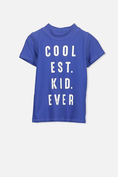 Finley Short Sleeve Rash Vest, SCUBA BLUE/COOLEST KID