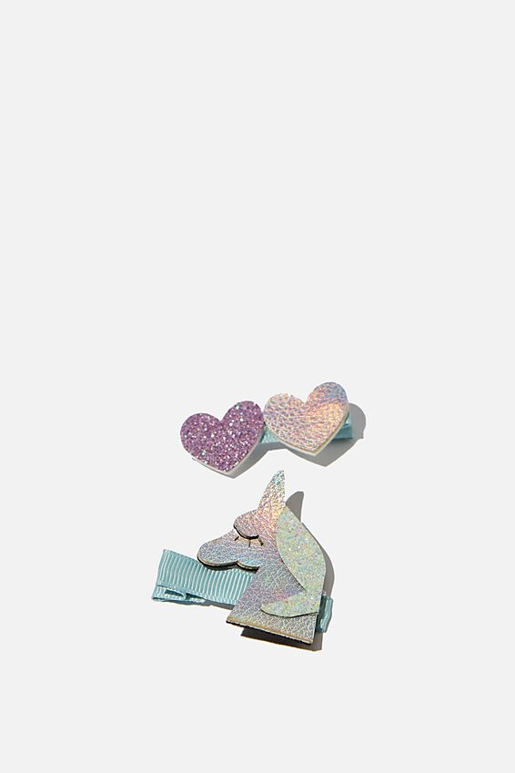 Hair Clips, UNICORN AND HEARTS