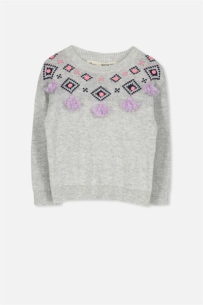 Nancy Knit Jumper, SILVER MARLE/TASSELS
