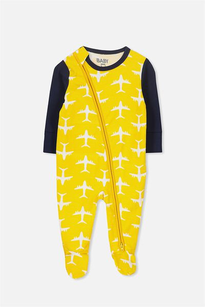 Mini Zip Through Romper, GOLDEN YELLOW/AEROPLANE