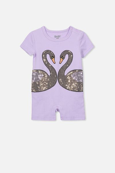 Lucy Ss Snap Romper, ORCHID BLOOM/KISSING SWANS