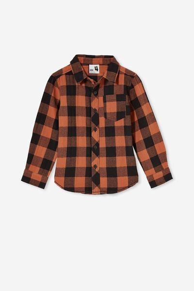 Rugged Long Sleeve Shirt, AMBER BROWN/PHANTOM BUFFALO CHECK