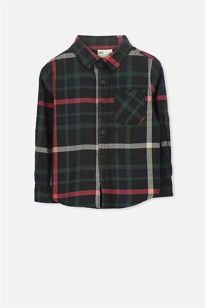 Noah Long Sleeve Shirt, BLACK MULTI CHECK 2