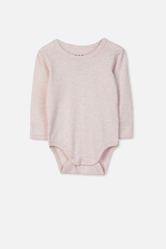 Newborn Long Sleeve Bubbysuit, BABY PINK MARLE