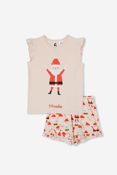 Stacey S/Sleeve Flutter Pyjama Set Personalise, SANTA FACES/CRYSTAL PINK