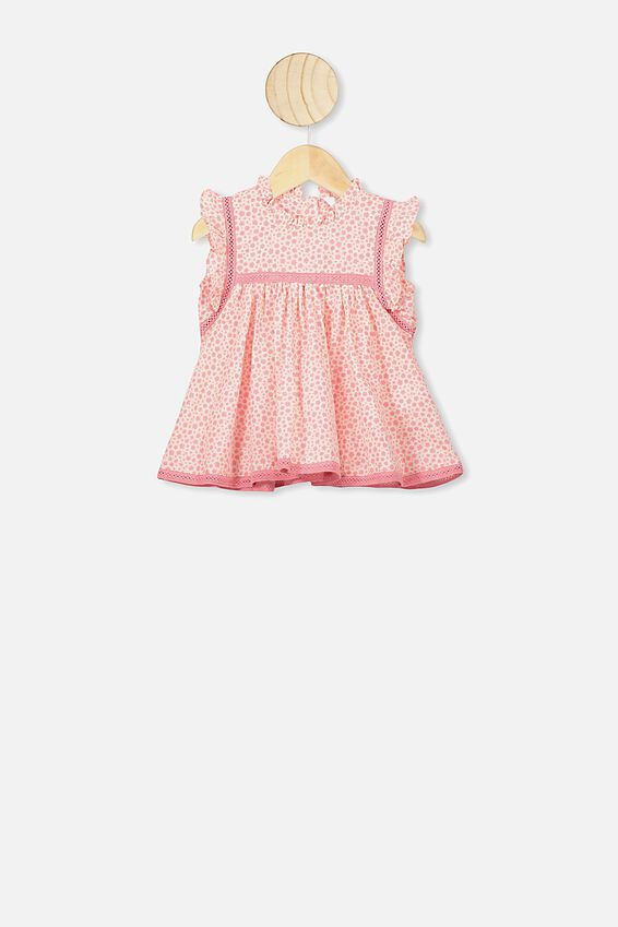 Tess Flutter Sleeve Dress, RETRO CORAL/EDITH FLORAL