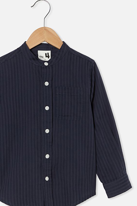 Grandpa Collar Prep Shirt, NAVY SELF TEXTURE