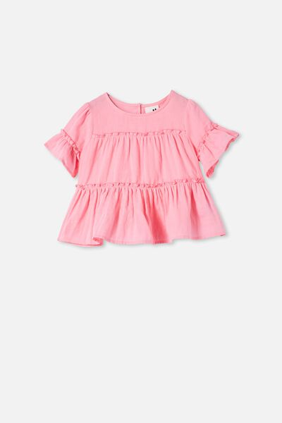 Frede Short Sleeve Frill Top, CALI PINK