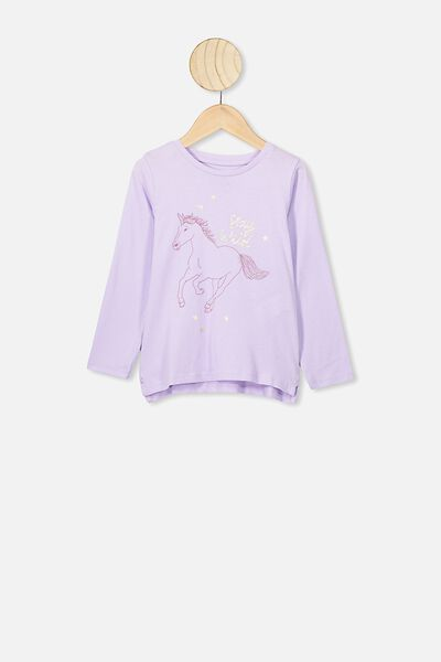 Penelope Long Sleeve Tee, VINTAGE LILAC/STAY WILD UNICORN