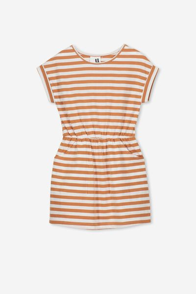 Sibella Short Sleeve Dress, SUNBURN/VANILLA STRIPE