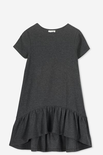 Joss Short Sleeve Dress, CHARCOAL MARLE/TEXTURE