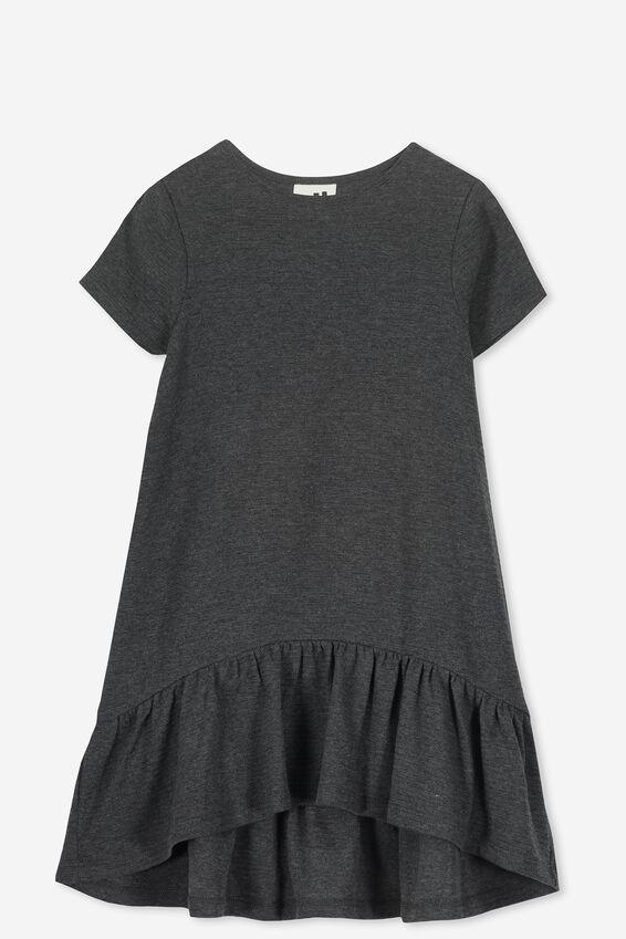 Joss Short Sleeve Dress, CHARCOAL MARLE/TEXTURE
