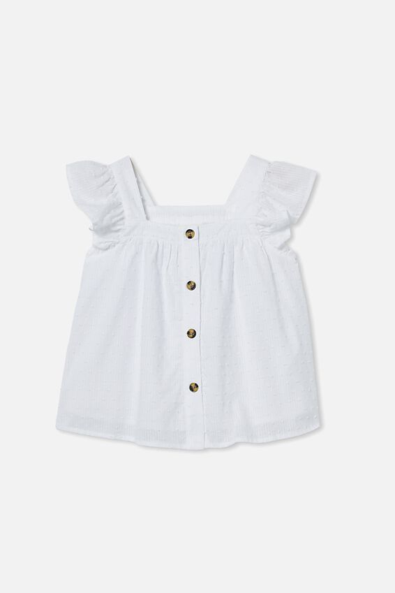 Polly Placket Sleeveless Top, WHITE