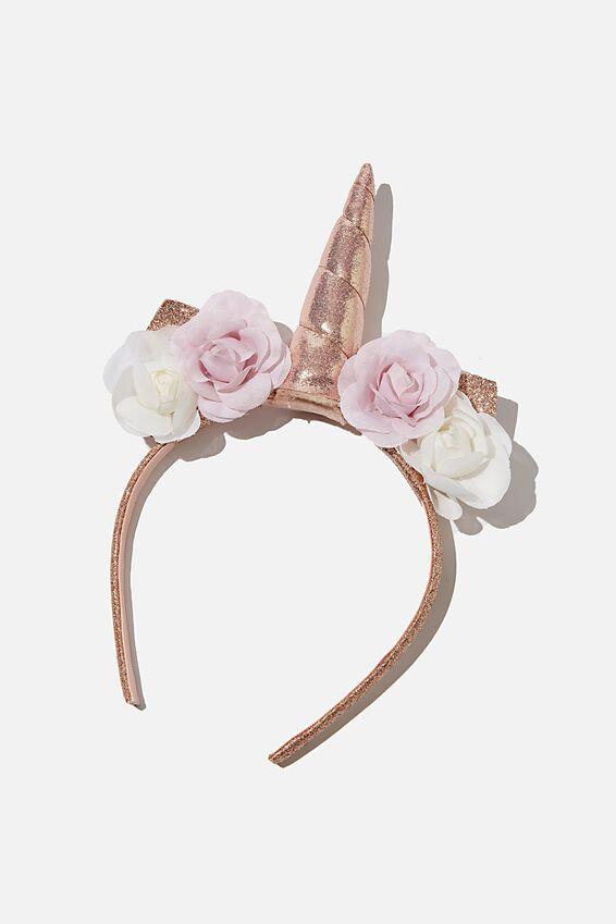 Unicorn Headband, ROSEY GOLD FLORAL