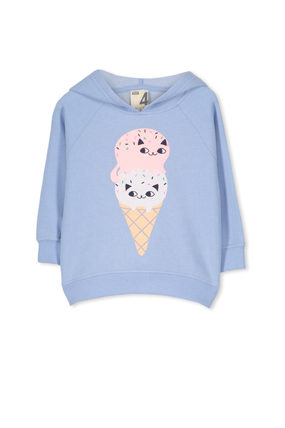 Scarlett Fleece Raglan Hoodie, EXCLUSIVE BLUE/ICECREAM CAT