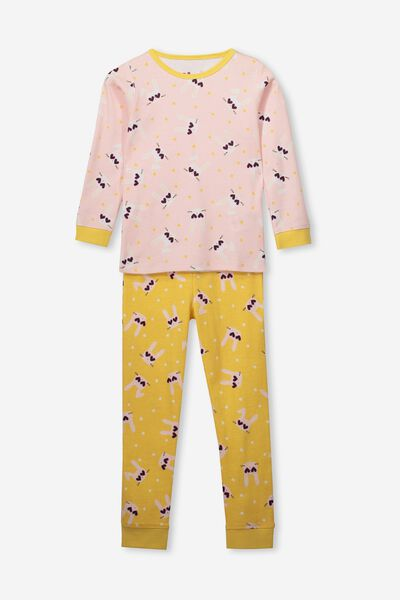Alicia Long Sleeve Girls PJ Set, BUNNY HEARTS