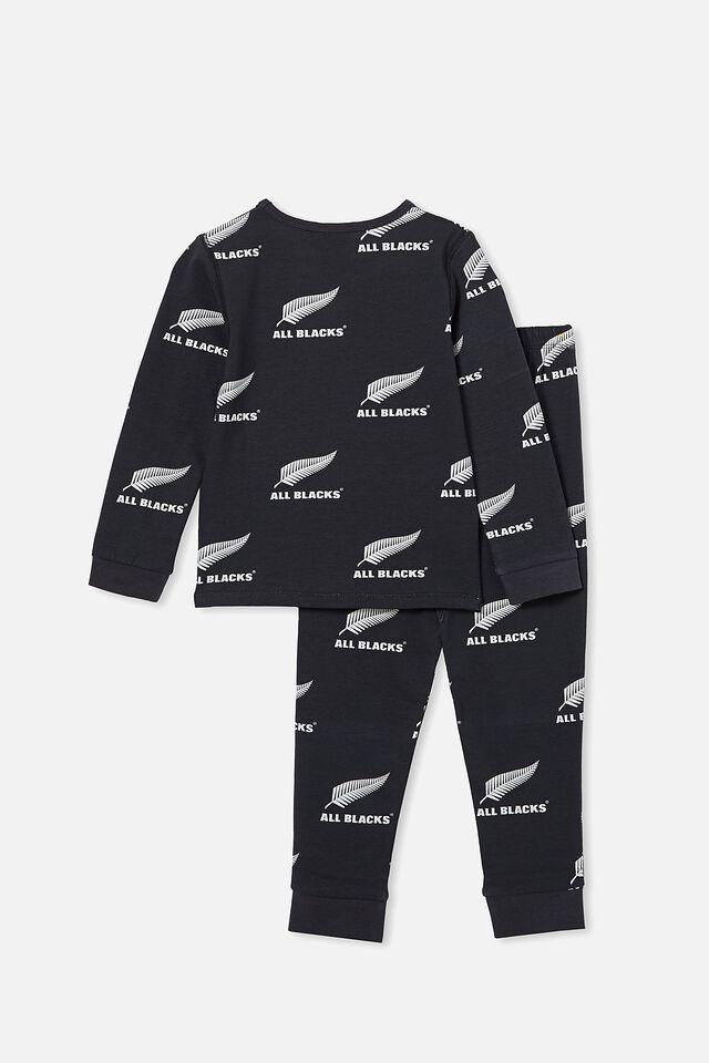 All Blacks Orlando Long Sleeve Pyjama Set, LCN ALL PHANTOM/ ALL BLACKS FERN