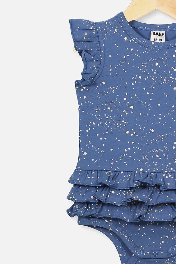 Alice Ruffle Bubbysuit, PETTY BLUE/SCATTER STARS