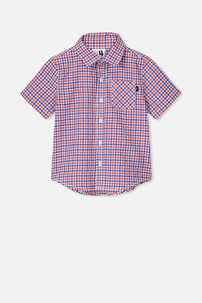 Resort Short Sleeve Shirt, RED/BLUE SEERSUCKER