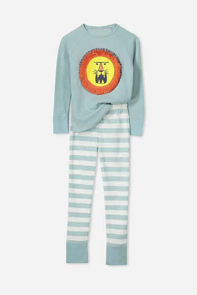 Louis Boys Raglan Long Sleeve Waffle Pyjama Set, LARRY THE LION