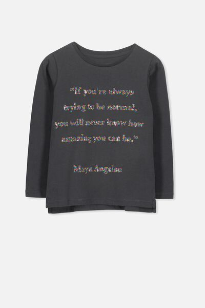 Anna Long Sleeve Tee, PHANTOM/MAYA QUOTE/SET IN