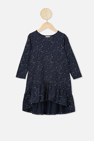 Joss Long Sleeve Dress, INDIAN INK SCATTERED STARS